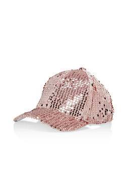 Sequin Velvet Baseball Hat - MAUVE - 1129067447141