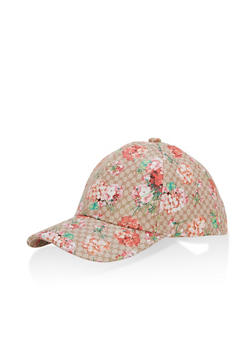 Floral Print Baseball Hat - 1129067448000