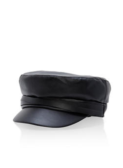 Faux Leather News Boy Cap - 1129067448002
