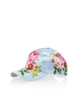 Satin Floral Snapback Cap - BLUE - 1129067448307
