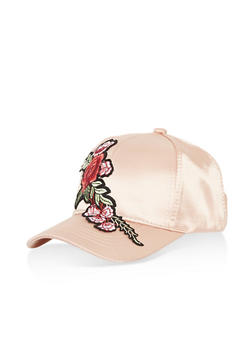 Satin Baseball Hat with Floral Applique - 1129071210121