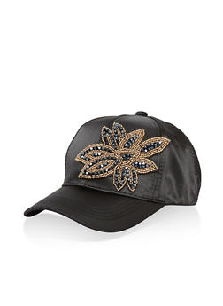 Satin Jewel Detail Baseball Hat - 1129071210733