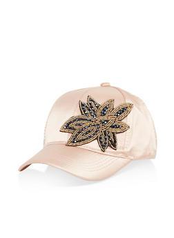 Satin Jewel Detail Baseball Hat - 1129071210733