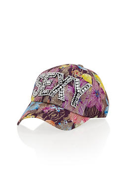 Floral Print Baseball Hat with Studded Sexy Graphic - 1129071217001