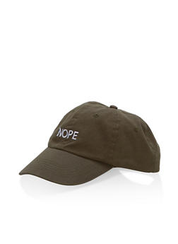 Nope Graphic Snapback Baseball Hat - OLIVE - 1129073335104
