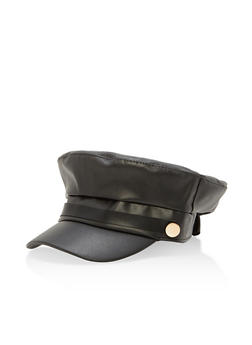 Faux Leather Newsboy Hat - 1129074398172