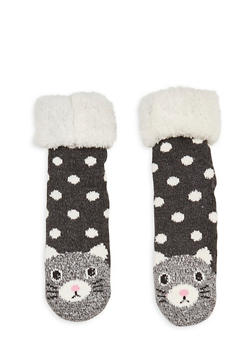 Long Critter Knit Socks - BLACK - 1130055321281