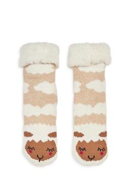 Long Critter Knit Socks - BROWN - 1130055321281