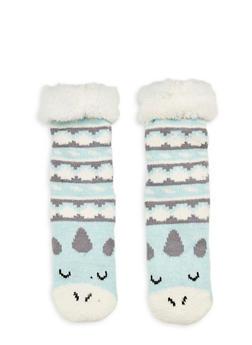 Long Critter Knit Socks - AQUA - 1130055321281