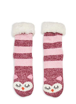 Long Critter Knit Socks - WINE/PINK - 1130055321281
