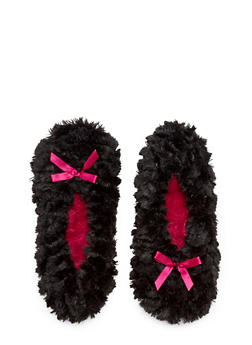 Plush Slippers with Satin Bow Accents - 1130055321537