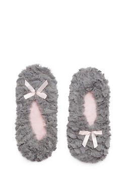 Plush Slippers with Satin Bow Accents - GRAY/L PINK - 1130055321537