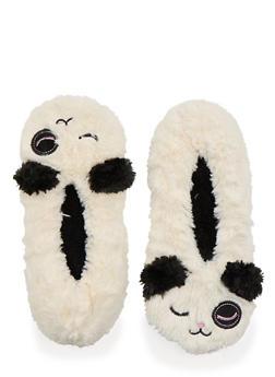 Plush Slippers with Winking Panda Design - 1130055321691