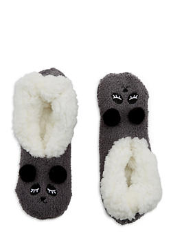 Pom Pom Ears Fuzzy Slipper Socks - 1130055321893