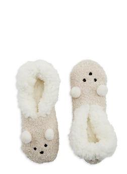 Pom Pom Ears Fuzzy Slipper Socks - IVORY - 1130055321893