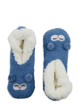 Pom Pom Ears Fuzzy Slipper Socks - BLUE - 1130055321893