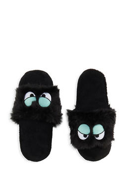 Graphic Faux Fur Slippers - 1130055321975