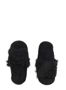 Faux Fur Slippers - 1130055321976