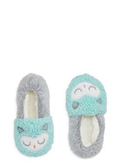 Fuzzy Critter Slipper Socks - MINT - 1130055323181