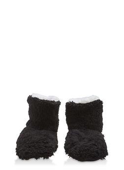 Fuzzy Slipper Booties - BLACK - 1130055325091