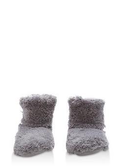 Fuzzy Slipper Booties - GREY - 1130055325091
