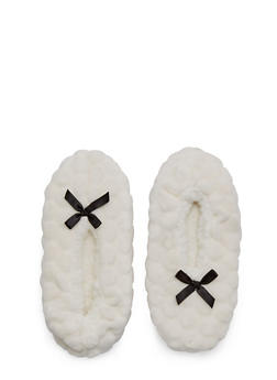 Plush Slippers with Satin Bow Accents - IVORY - 1130055325883