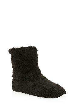 Plush Slipper Booties - BLACK - 1130055326035