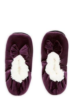 Velvet Faux Fur Bow Slippers - PURPLE - 1130055326381