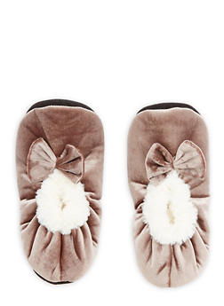 Velvet Faux Fur Bow Slippers - TAUPE - 1130055326381
