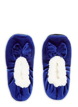 Velvet Faux Fur Bow Slippers - BLUE - 1130055326381