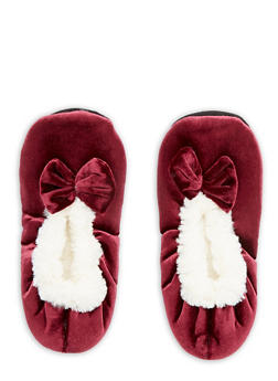 Velvet Faux Fur Bow Slippers - 1130055326381