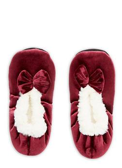 Velvet Faux Fur Bow Slippers - BURGUNDY - 1130055326381