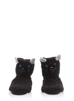 Fuzzy Animal Slipper Booties - BLACK - 1130055328381