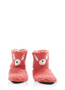Fuzzy Animal Slipper Booties - ORANGE - 1130055328381