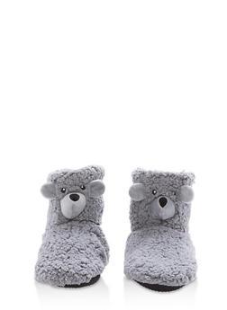 Fuzzy Animal Slipper Booties - GREY - 1130055328381