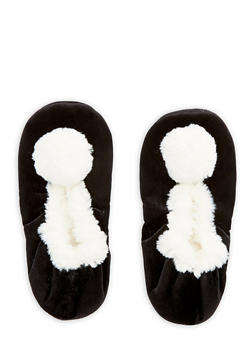Velvet Faux Fur Pom Pom Slippers - BLACK - 1130055329281