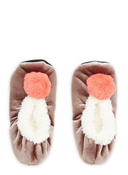 Velvet Faux Fur Pom Pom Slippers - 1130055329281