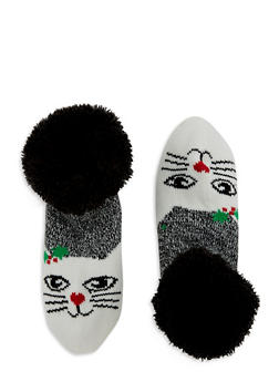 Fuzzy Holiday Lounge Socks - BLACK - 1130055329903