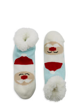 Fuzzy Holiday Lounge Socks - BLUE - 1130055329903