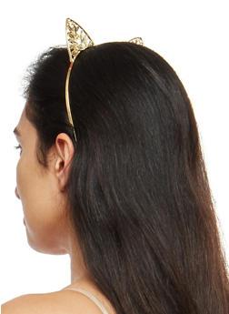 Jeweled Metallic Cat Ear Headband - GOLD - 1131018433070