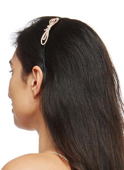 Metallic Rhinestone Bow Headband - 1131018434701