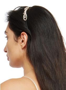 Metallic Rhinestone Bow Headband - GOLD - 1131018434701