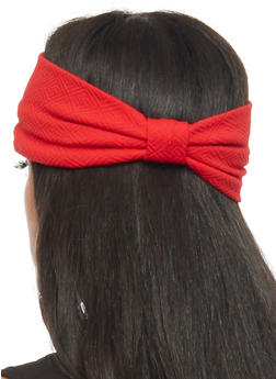 Textured Knit Headband with Knotted Accent - RED - 1131018436079
