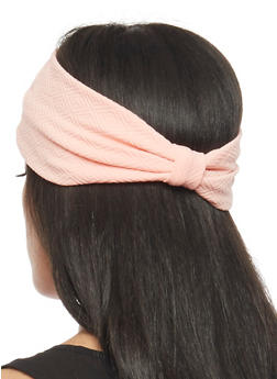 Textured Knit Headband with Knotted Accent - BLUSH - 1131018436079