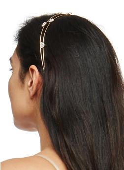 Rhinestone Heart Headband - GOLD - 1131018436151