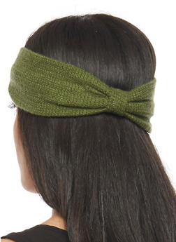 Knit Headband with Knotted Accent - OLIVE - 1131018437609