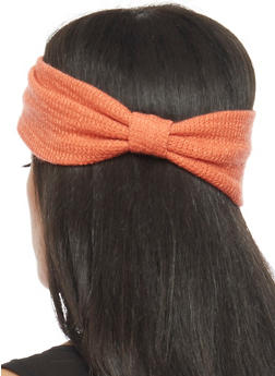 Knit Headband with Knotted Accent - FRESH SALMON - 1131018437609