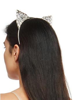 Jeweled Metallic Cat Ear Headband - 1131018439535
