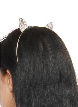 Rhinestone Cat Ears Metallic Headband - 1131062814532