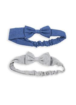 Set of 2 Bow Headwraps - DENIM - 1131067251217